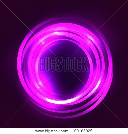 Square illustration with glowing circular frame. Vector element for your creativity