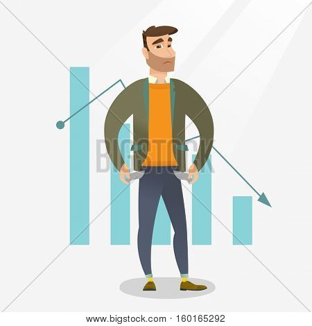 Businessman bankrupt showing his empty pockets on the background of decreasing chart. Bankrupt turning his empty pockets inside out. Bankruptcy concept. Vector flat design illustration. Square layout.