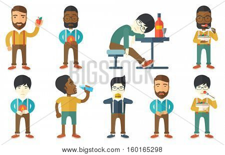Disappointed man suffering from heartburn. Upset man having stomach ache from heartburn. Man having stomach ache after fast food. Set of vector flat design illustrations isolated on white background.
