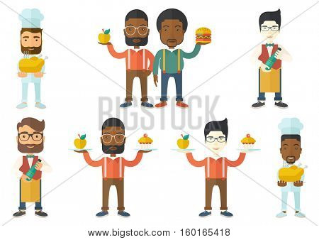 Chief cooker in uniform holding roasted chicken. Chief cooker with whole baked chicken. Chief cooker holding plate with chicken. Set of vector flat design illustrations isolated on white background.