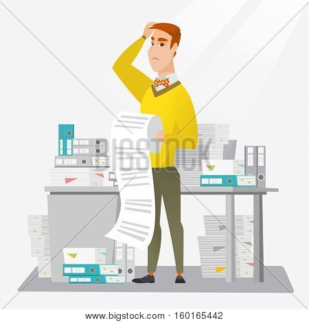 Caucasian worried businessman standing in office with long bill in hands. Disappointed businessman holding long bill. Businessman looking at long bill. Vector flat design illustration. Square layout.