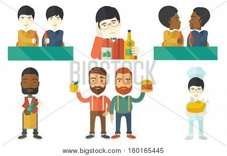 Beer fans toasting and clinking bottles of beer. Friends clanging bottles of beer. Group of young friends drinking a beer at pub. Set of vector flat design illustrations isolated on white background.