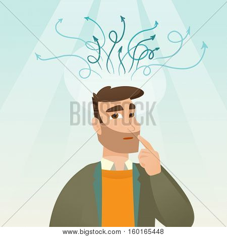 Caucasian businessman pointing finger up during process of business thinking. Businessman looking up and thinking. Business thinking and idea concept. Vector flat design illustration. Square layout.