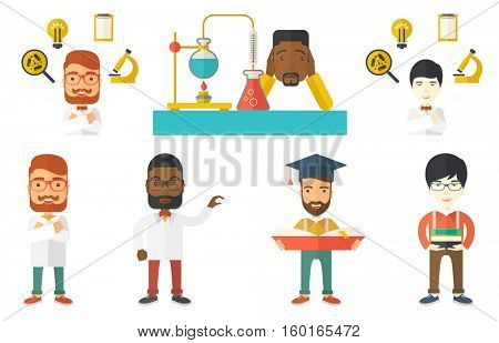 Disappointed student carrying out experiment in chemistry class. Student clutching head after failed experiment in chemistry class. Set of vector flat design illustrations isolated on white background