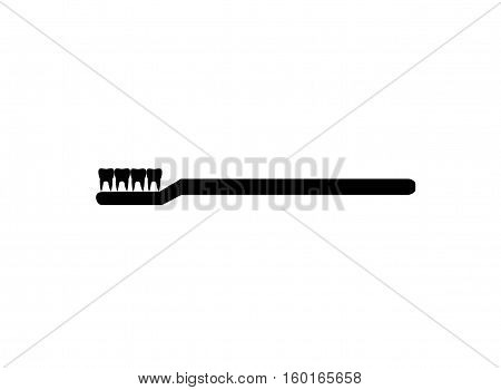 toothbrush with tooth instead of brush - black and white