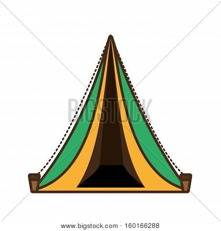 triangle tent tourism travel yellow and green vector illustration eps 10