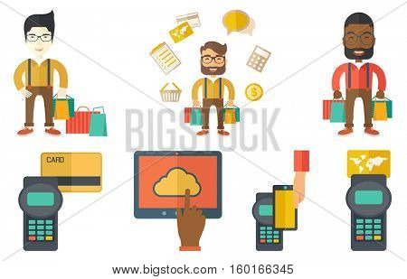 Smiling shopper holding shopping bags. Happy young shopper carrying shopping bags. Man standing with a lot of shopping bags. Set of vector flat design illustrations isolated on white background.