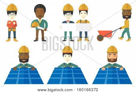 Technician installing solar panels. Technician in inuform and hard hat checking solar panels. Worker of solar power plant at work. Set of vector flat design illustrations isolated on white background.