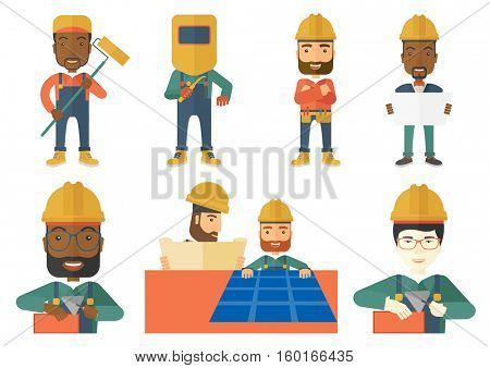 Young confident bricklayer in uniform and hard hat. Bricklayer working with spatula and brick. Bricklayer building a brick wall. Set of vector flat design illustrations isolated on white background.