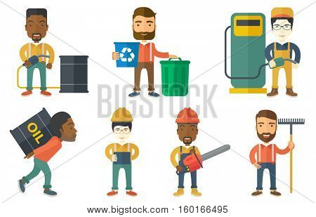 Worker of oil industry carrying barrel on his back. Worker walking with oil barrel on his back. Worker holding heavy oil barrel. Set of vector flat design illustrations isolated on white background.