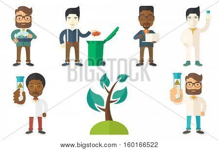 Laboratory assistant holding a test tube with biohazard sign. Laboratory assistant examining a test tube with biohazard sign. Set of vector flat design illustrations isolated on white background.