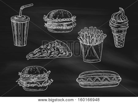 Fast food chalk sketch icons on blackboard. Snacks, desserts, drinks. Isolated vector french fries in box, pizza slice, soda coke, cheeseburger, hamburger, hot dog, ice cream cone