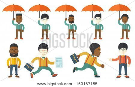 Man working as an insurance agent. Insurance agent standing safely under umbrella. Business insurance and protection concept. Set of vector flat design illustrations isolated on white background.