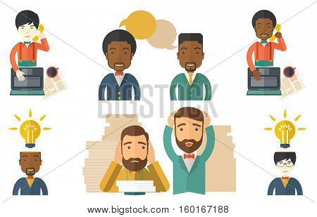 Businessman having a business idea. Businessman got a creative idea. Businessman with light bulb above head. Successful business idea concept. Set of vector illustrations isolated on white background.