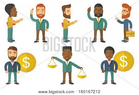 Successful rich businessman standing on the background with dollar coin. Successful businessman with dollar money. Concept of business success. Set of vector illustrations isolated on white background