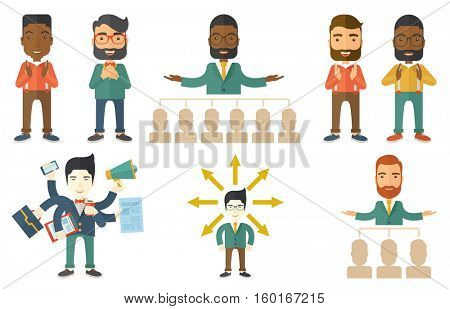 Audience applauding at business conference. Businessman applauding at business seminar. Cheerful businessman applauding during presentation. Set of vector illustrations isolated on white background.