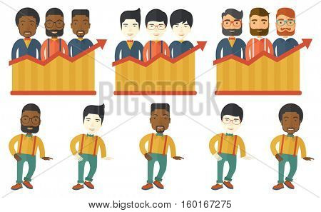 Successful business team standing on profit chart. Businessmen achieved big profit. Business profit and business success concept. Set of vector flat design illustrations isolated on white background.