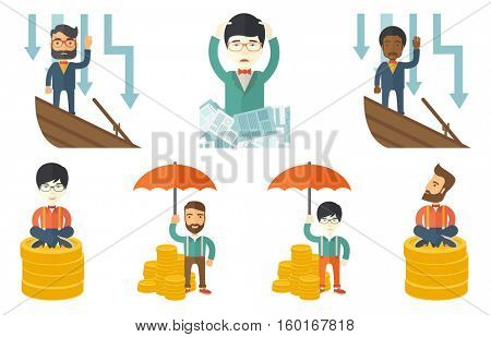 Bankrupt standing in sinking boat and asking for help. Bankrupt sinking and arrows behind him symbolizing business bankruptcy. Set of vector flat design illustrations isolated on white background.