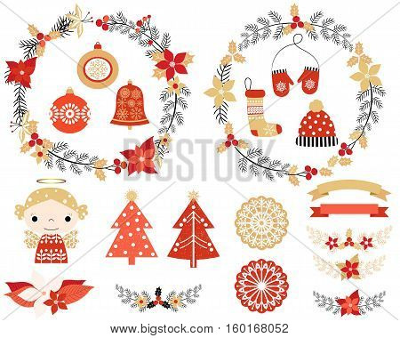 Christmas set with design elements in red gold and black colors - flower wreaths floral laurels mittens hat stocking ornaments snowflakes angel trees and banners