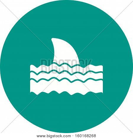 Dangerous, shark, water icon vector image. Can also be used for warning caution. Suitable for use on web apps, mobile apps and print media.