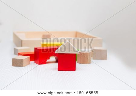 wooden blocks for the game lying on a light background