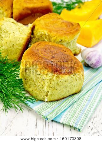 Scones Pumpkin With Garlic And Dill On Towel