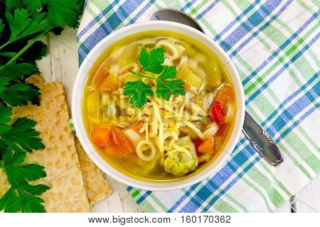 Soup Minestrone In Bowl On Napkin Top