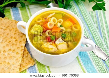 Soup Minestrone In Bowl On Towel