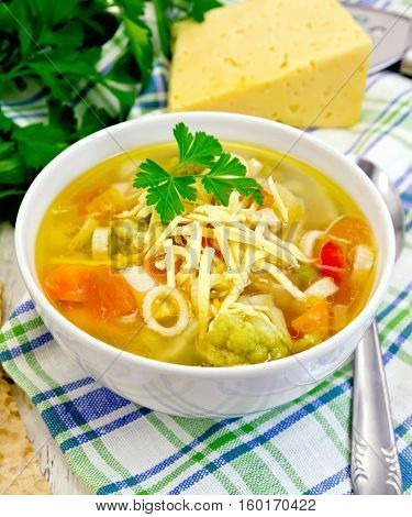 Soup Minestrone In White Bowl On Light Board