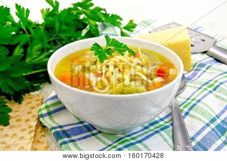 Soup Minestrone In White Bowl On Napkin