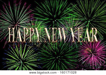 Fireworks light up the sky with a dazzling display text Happy New Year.