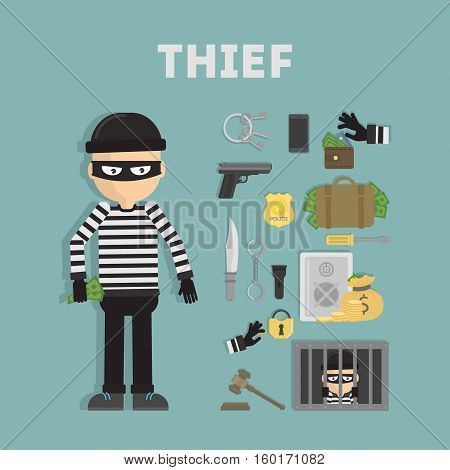 thief tool Set Crime flat vector illustration