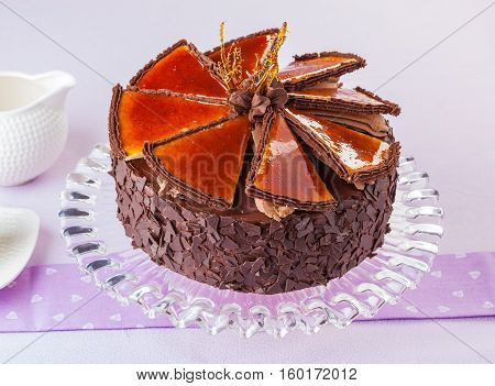 Hungarian Dobos torte chocolate cake with caramelized top.