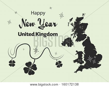 Happy New Year Illustration Theme With Map Of United Kingdom