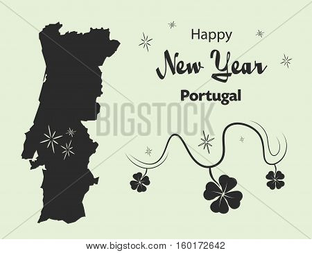 Happy New Year Illustration Theme With Map Of Portugal