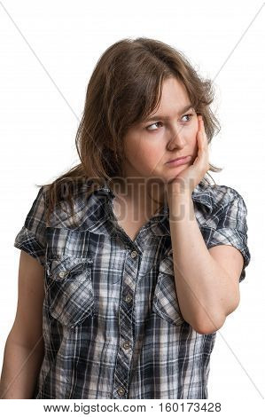 Young Sad And Displeased Woman Isolated On White Background.
