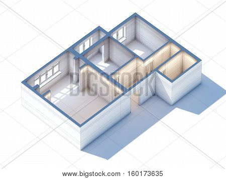 House interior design planning sketch draft 3d rendering (general aerial view)