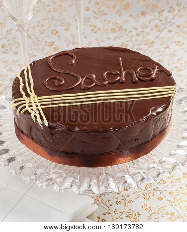 Homemade Sacher torte. A chocolate and cherry cake