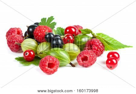 A Mixture Of Ripe Juicy Fruits And Berries On A White Background. Raspberries, Currants, Gooseberrie