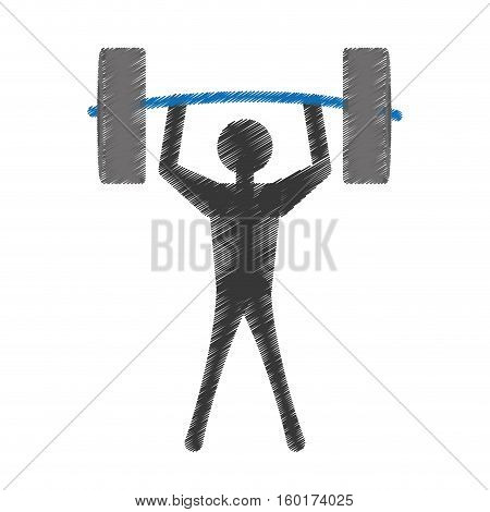 silhuette man lifting barbell vector illustration eps 10