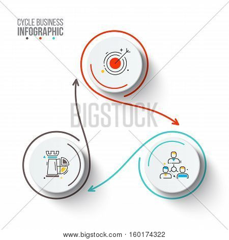 Circles with arrows strokes for infographic. Template for cycle diagram, graph, presentation and chart. Business concept with 3 options, parts, steps or processes. Outline icons.