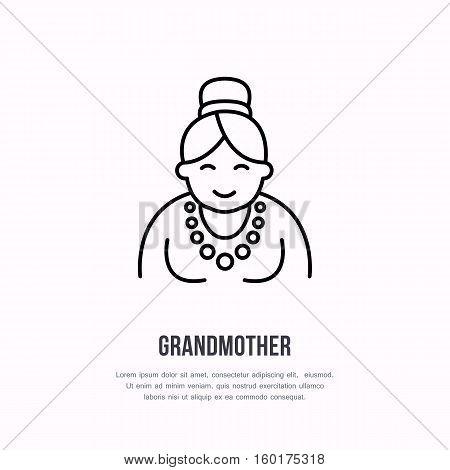 Vector line icon of happy old person. Nursing home sign, linear logo. Outline symbol of grandmother, elderly care. Design element for sites, senior hospital.