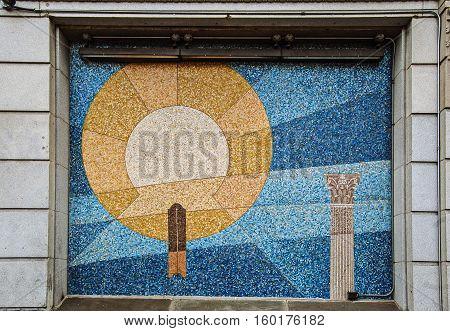 Boston, MA, USA 25 Jul. 2009: Facade Mosaic of Grand Lodge of Masons in Massachusetts Building