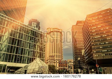 Abstract architecture buildings of downtown with sun warm color.