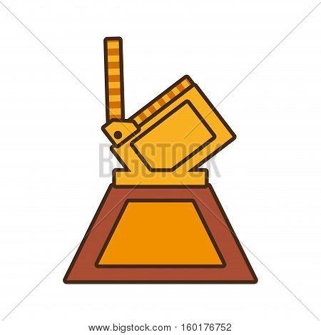 cartoon film clapper trophy awards gold wooden vector illustration eps 10