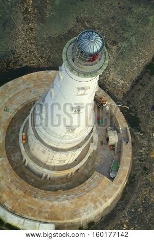 Aerial view of the historical lighthouse of Cordouan at low tide Gironde estuary France