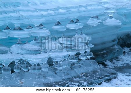 icicles on mountain river . winter background, Altai