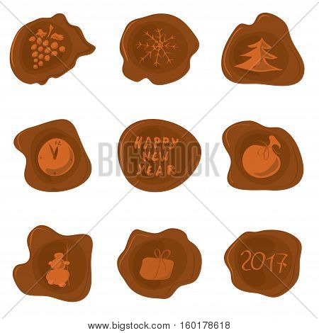 set of vector wax seal with different pictures on the theme of New Year / for sealing holiday greetings