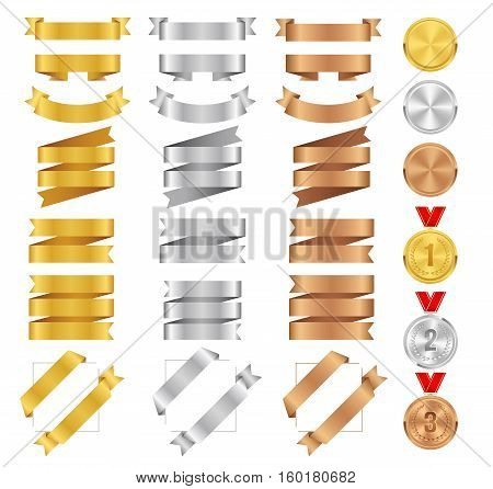 Set of bronze golden silver ribbons and award medals. Vector medal tape collection. Glossy ribbon banners isolated on white background. Labels for greeting card gift poster flyer your design.