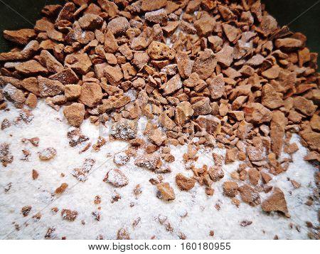 Mixture of coffee powder sugar and creamer